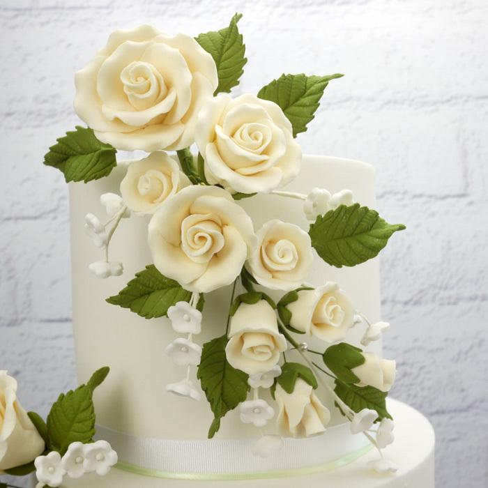 Fleur en sucre - Rose 19 cm - Ivoire