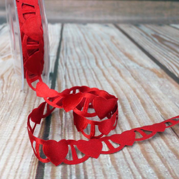 Ruban 1 M – Coeurs rouge