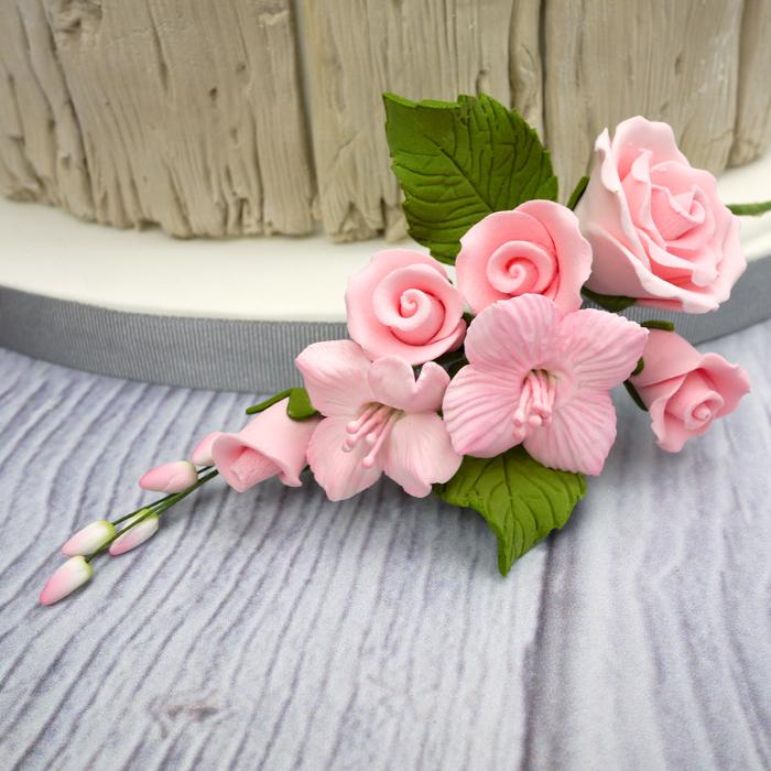 Fleur en sucre - Rose et Cornouiller 13 cm - Rose