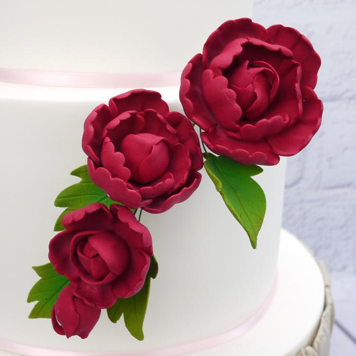 Fleur en sucre - Pivoine 16 cm- Rouge rubis