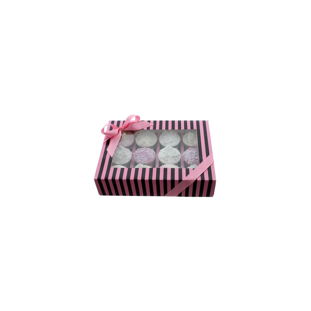 Boîte pour 12 cupcakes - Rayures Rose/Noir