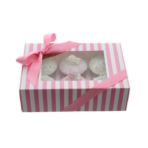 Boîte pour 6 cupcakes - Rayures Rose/Blanc