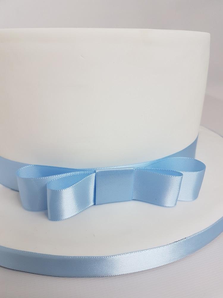 Ruban en satin double face 1M - Ice Blue - Choisir la taille