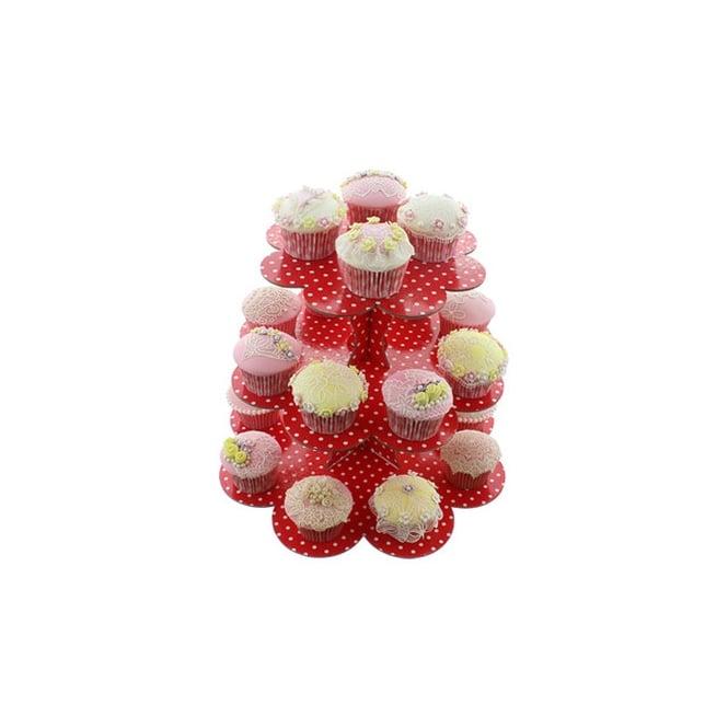 Présentoir 3 étages à Cupcakes à pois  – Rouge
