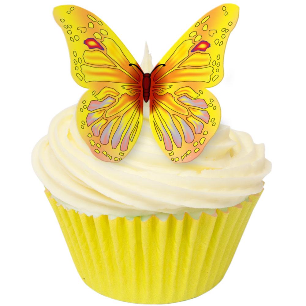 Toppers alimentaire – Papillons Jaune – Lot de 12