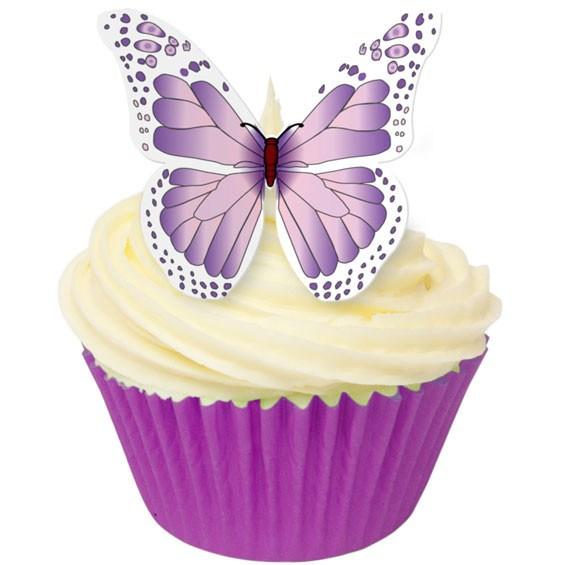 Toppers alimentaire – Papillons Violet/Blanc– Lot de 12
