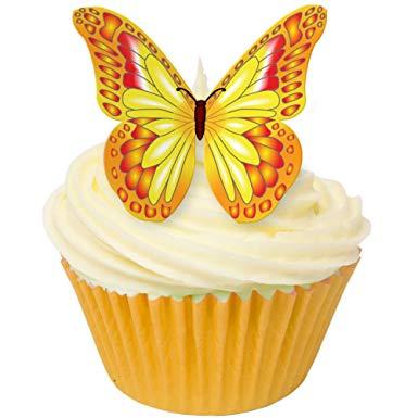 Toppers alimentaire – Papillons Jaune/Rouge – Lot de 12