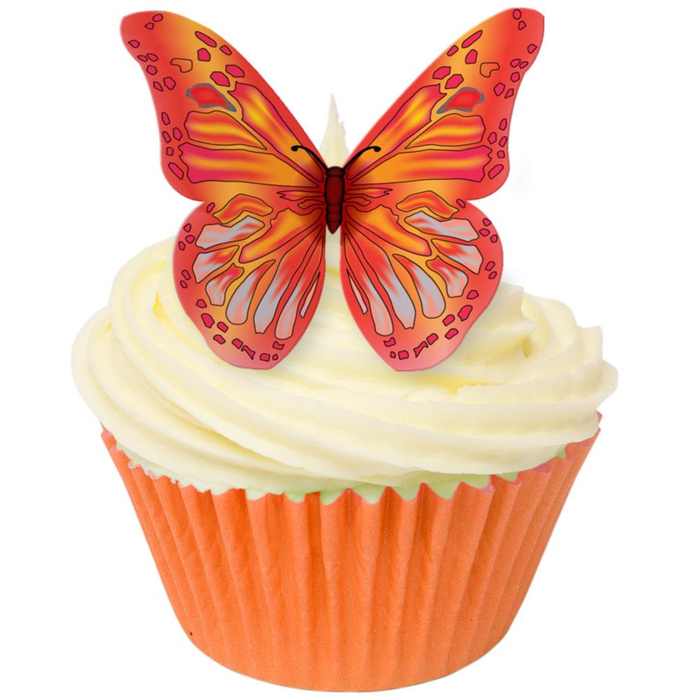 Toppers alimentaire – Papillons Orange – Lot de 12