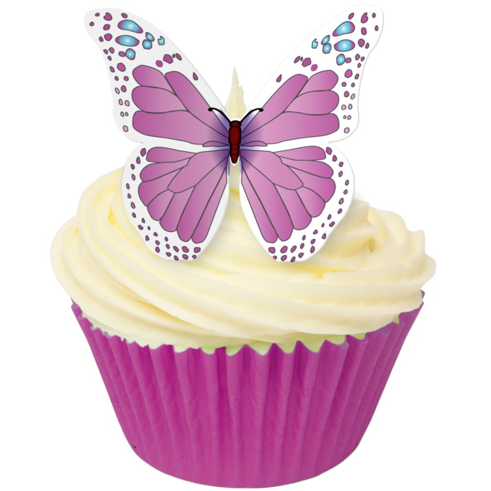 Toppers alimentaire – Papillons Rose/Blanc– Lot de 12