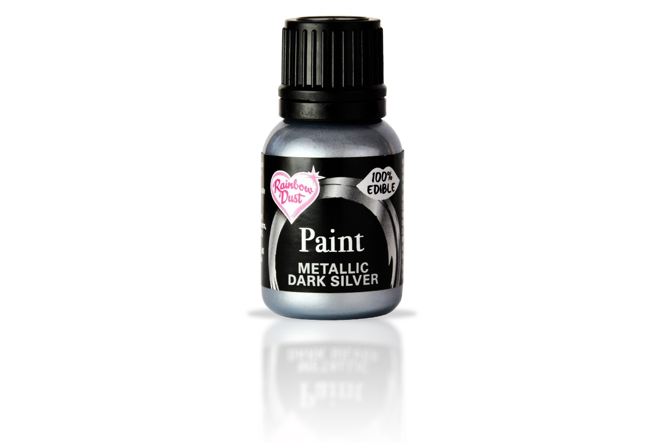 Peinture alimentaire métallisé 25 ml – Argent foncé
