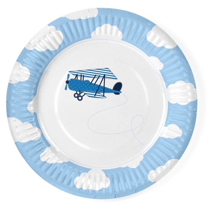 Assiettes - Avion bleu - Lot de 6