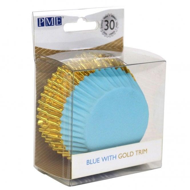 Caissettes à cupcake à Rayure Or – Bleu – Lot de 30