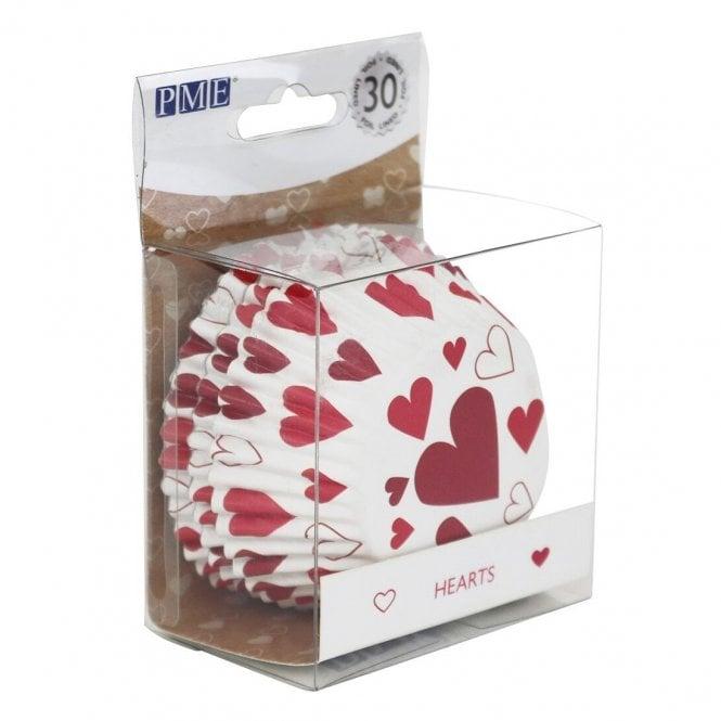 Caissettes à cupcake  – Coeur Rouge – Lot de 30