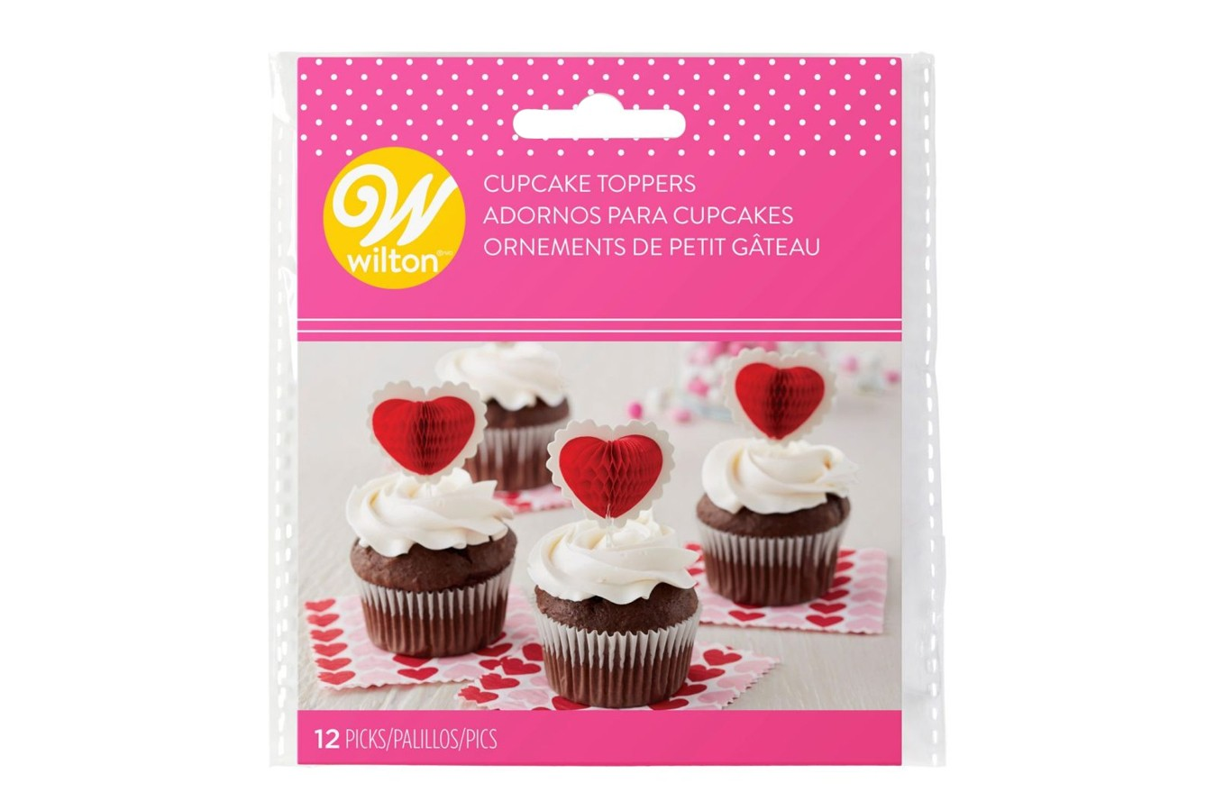 Toppers pour cupcakes - Coeur - Lot de 12
