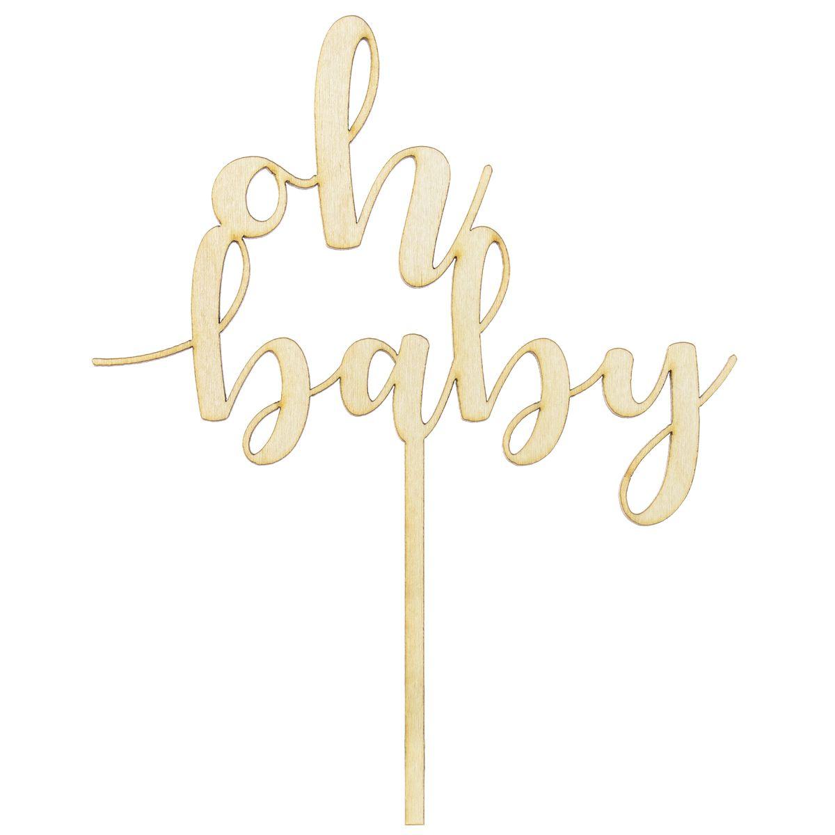 Topper en bois - Oh Baby