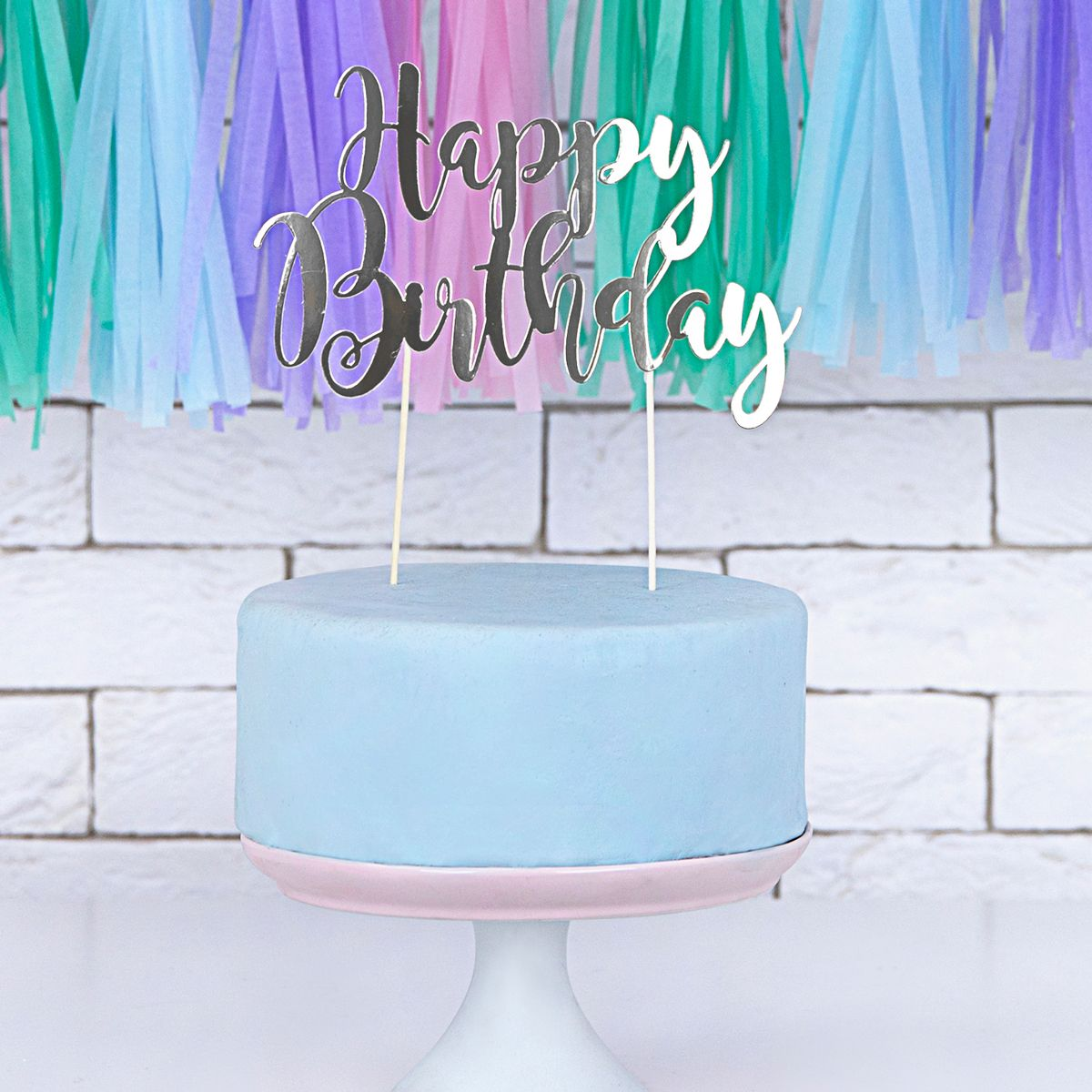 Topper - Happy Birthday - Argent