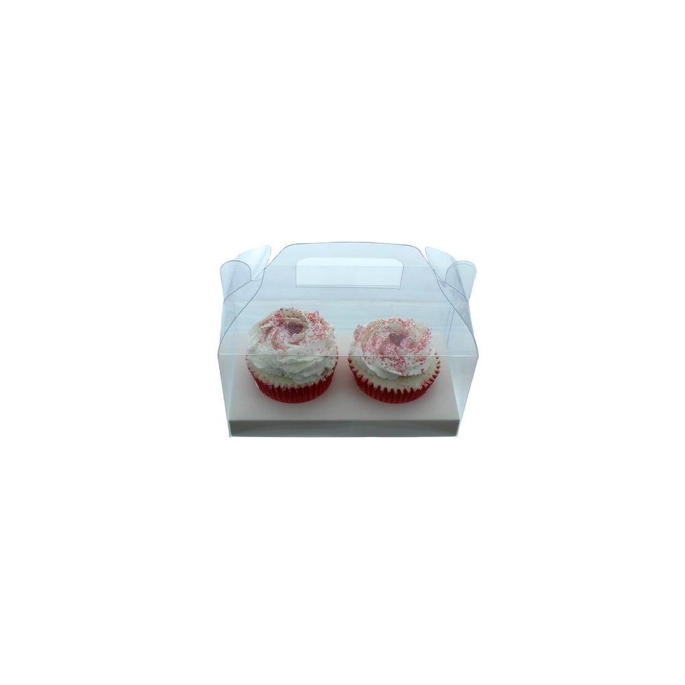 Boîte pour 2 cupcakes avec poignée – Transparent
