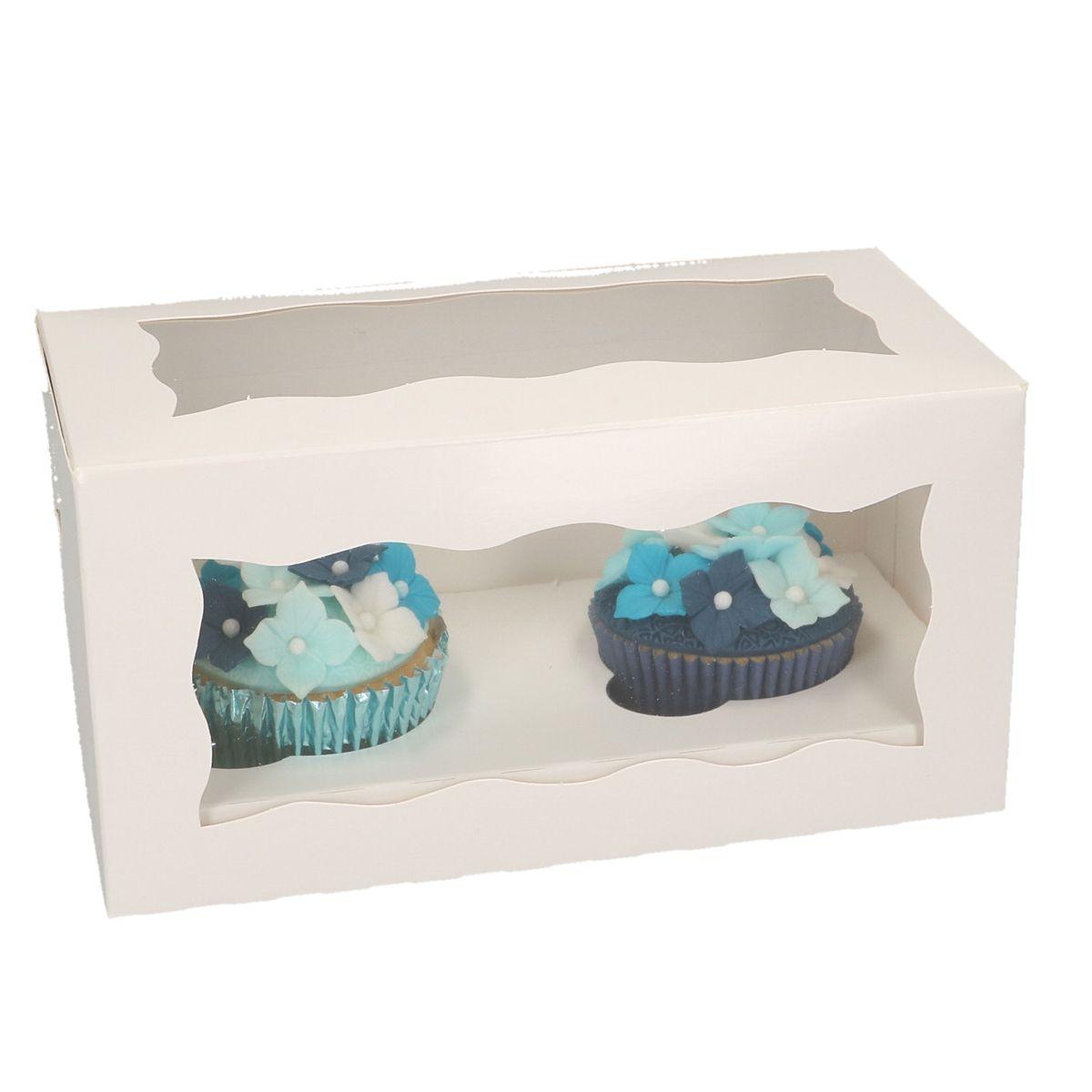 Boîte pour 2 cupcakes - Blanc - Lot de 3