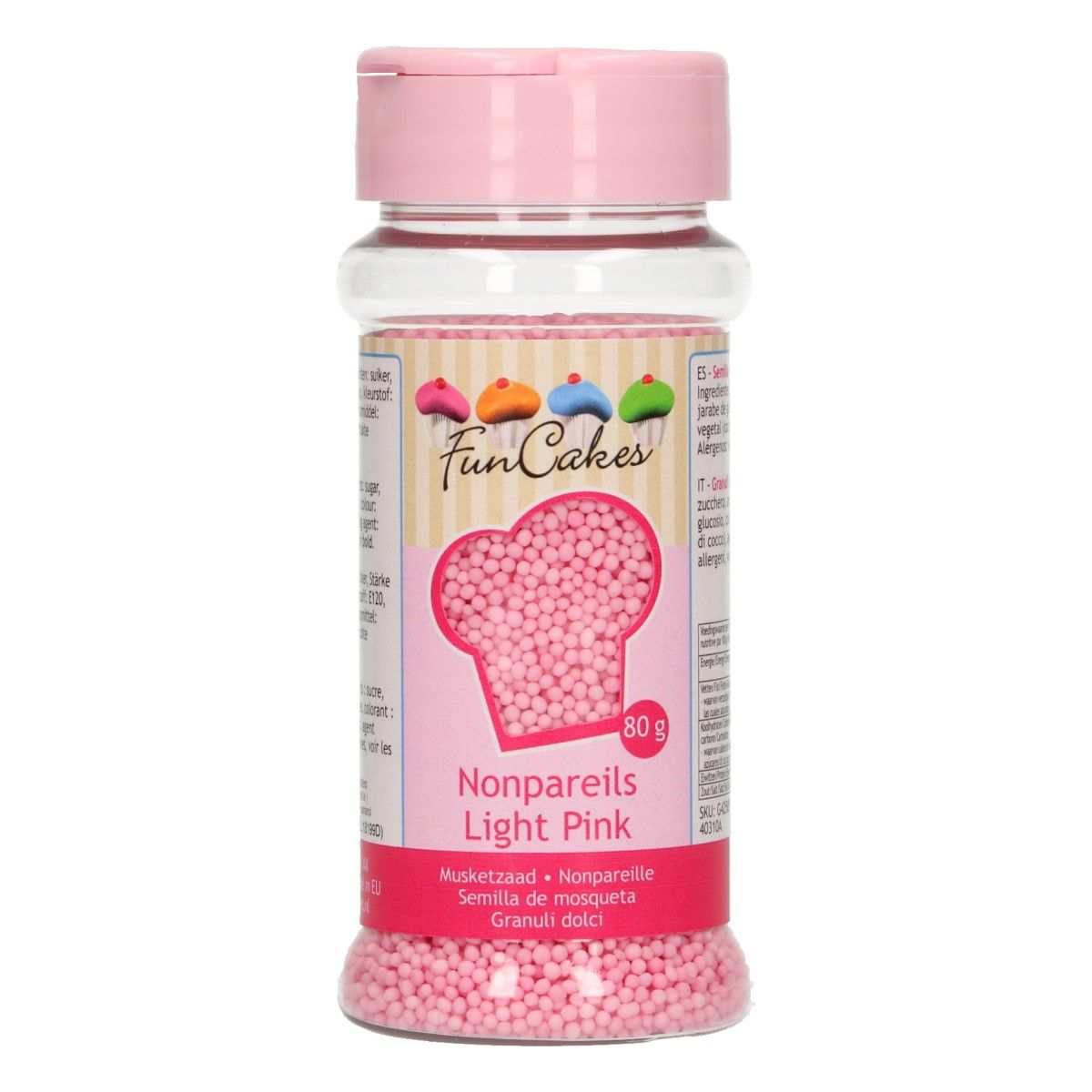 Mini perles en sucre 80 g - Rose clair