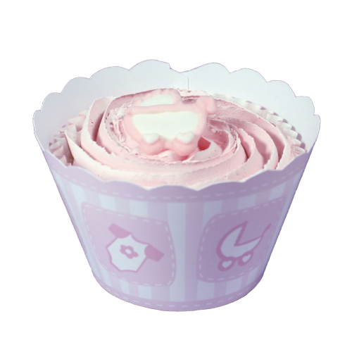Contours à cupcake - Bébé Rose - Lot de 12