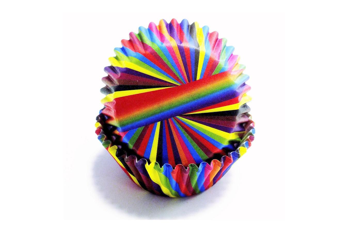 Caissettes à cupcake  – Rayures multicolore - Lot de 60