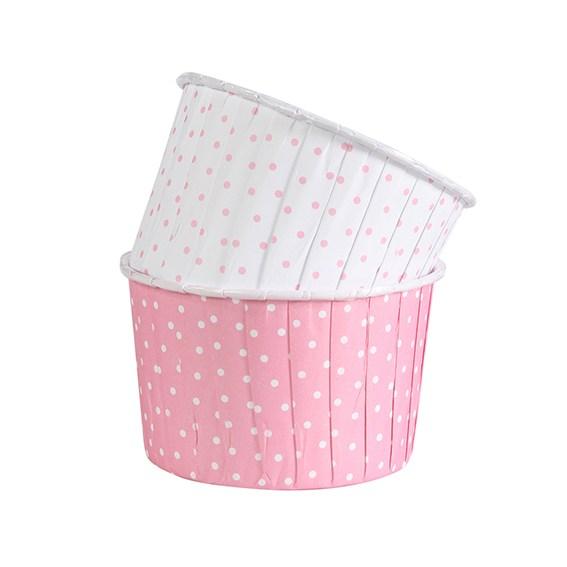 Caissettes à Cupcake à pois - Rose/Blanc - Lot de 24