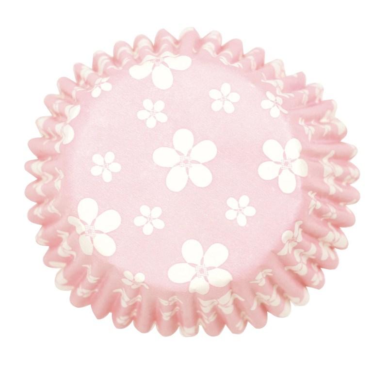 Caissettes à cupcake - Fleurs Rose- Lot de 54