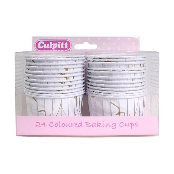 Caissettes de Cupcake - Marbre Argenté - Lot de 24