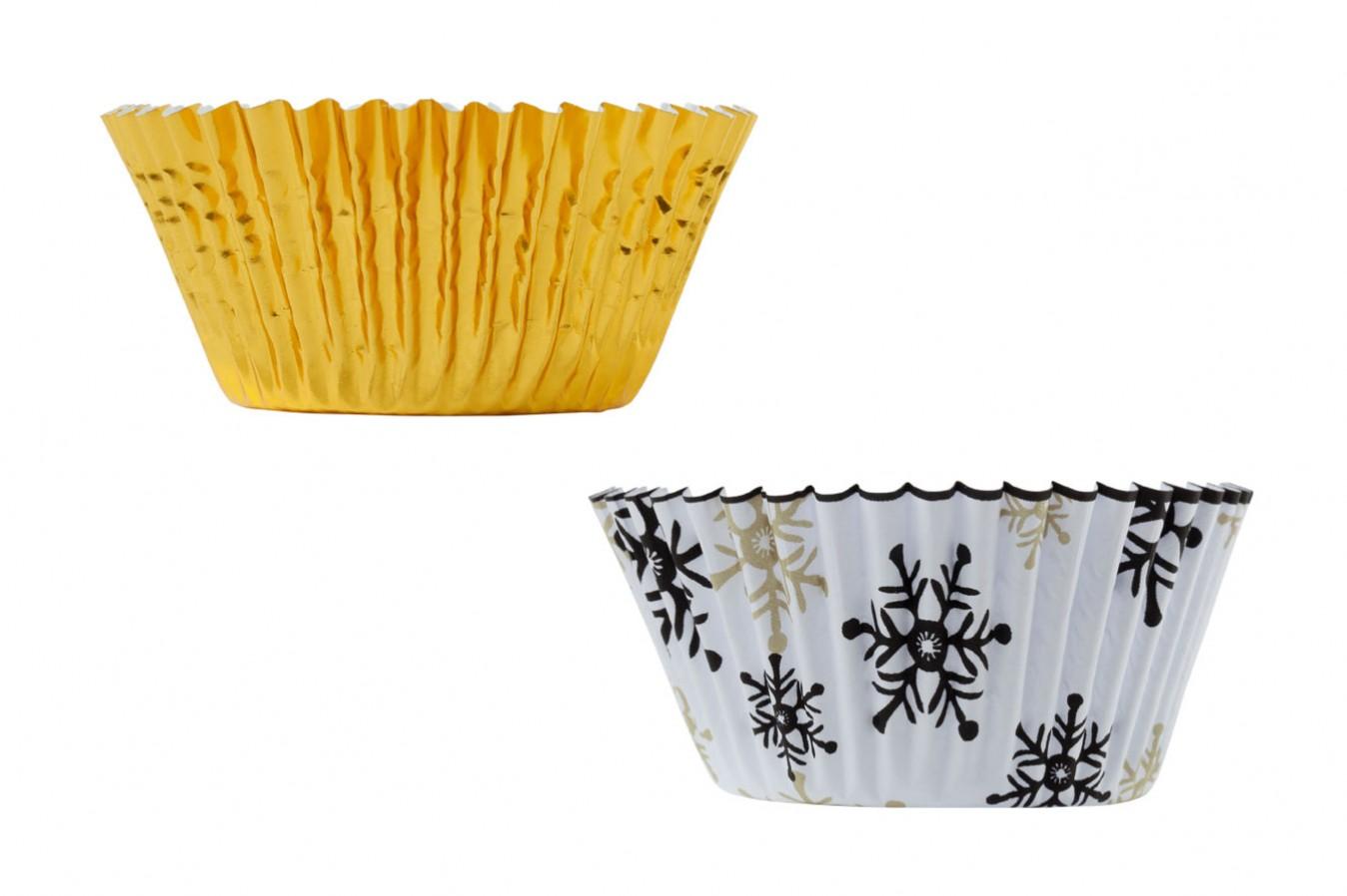 Caissettes à Cupcakes – Flocon de neige/Or – Lot de 36