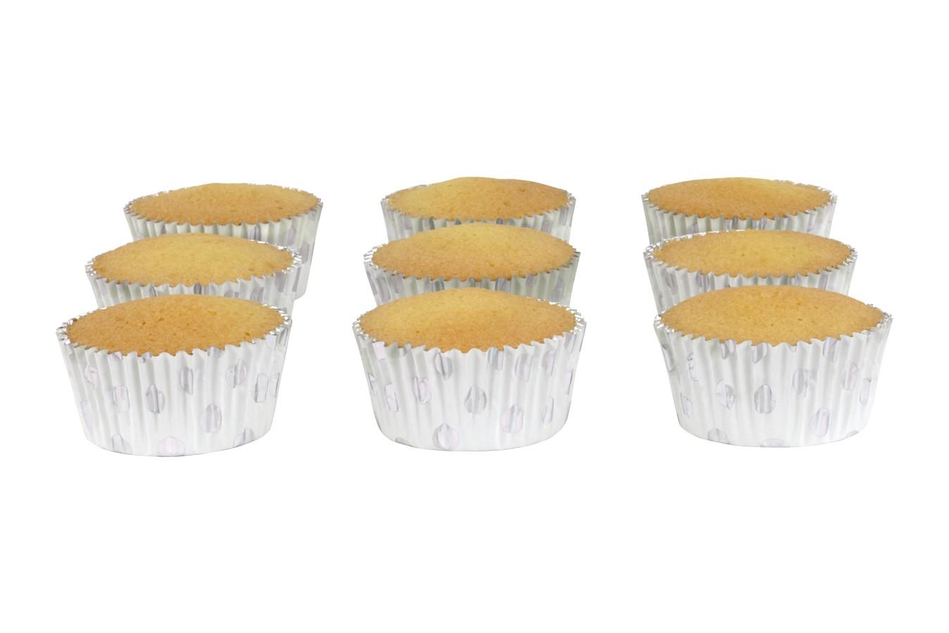 Caissettes à cupcake à pois – Argent – Lot de 30