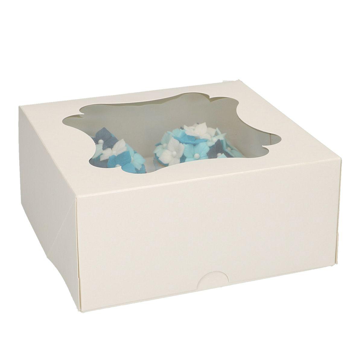 Boîte pour 4 cupcakes - Blanc - Lot de 3