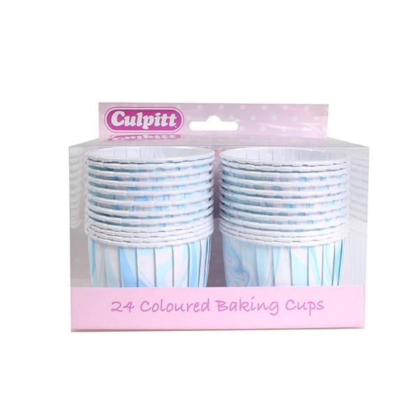 Caissettes de Cupcake - Marbre Bleu - Lot de 24
