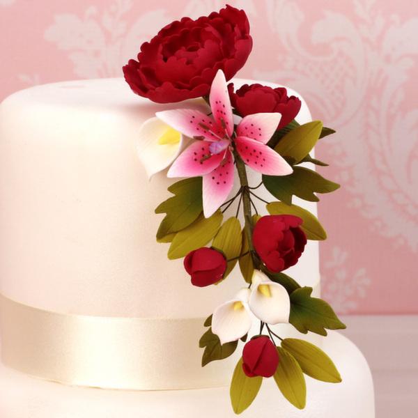 Fleur en sucre - Pivoine et Lis - Rouge rubis