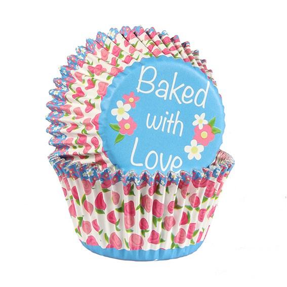 Caissettes à cupcake – Fleurs rose/bleu - Lot de 25
