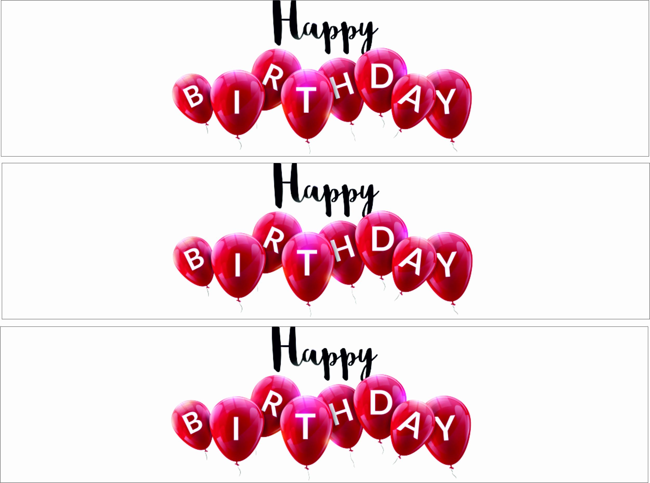 Contour de gâteau - Happy Birthday - Ballons Rouge