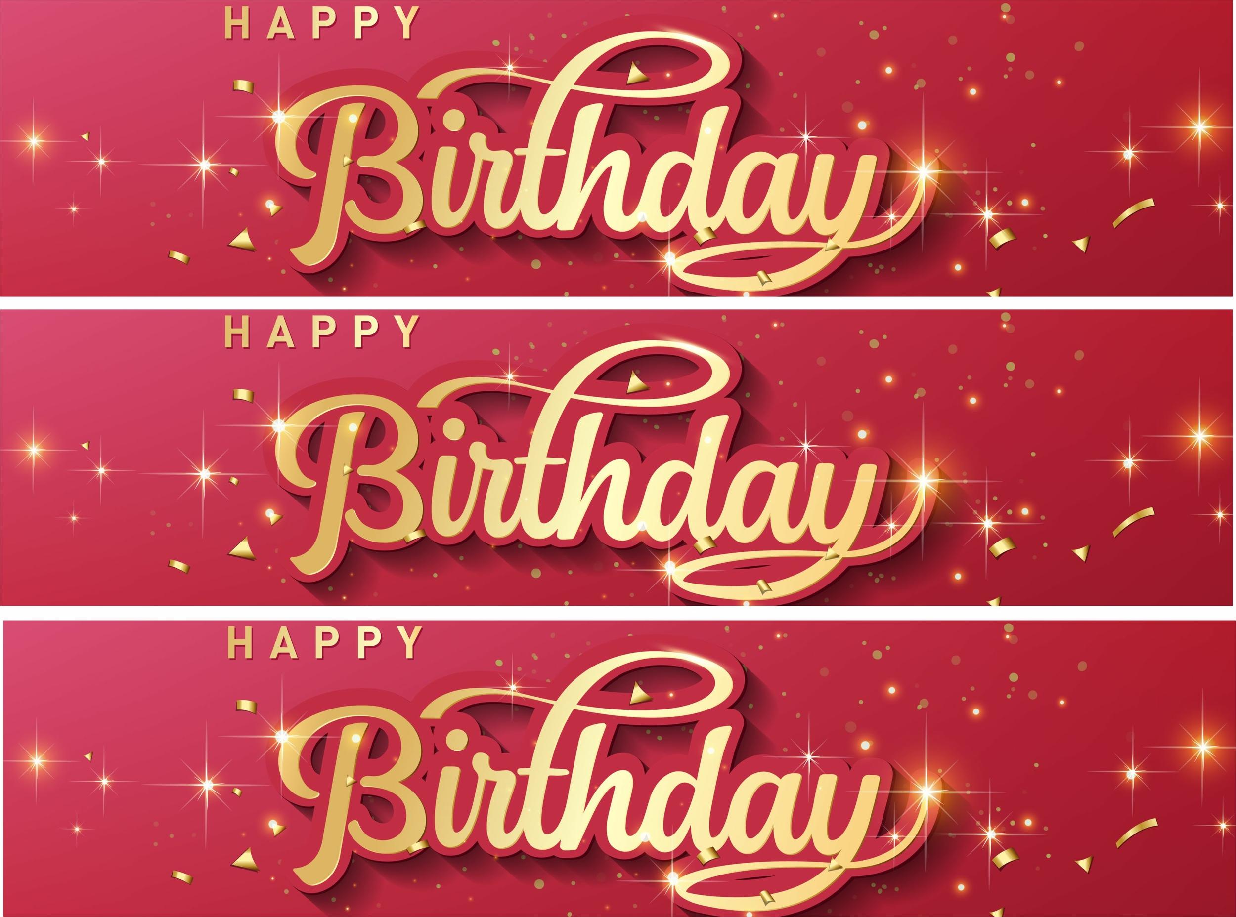 Contour de gâteau - Happy Birthday - Or et Rouge