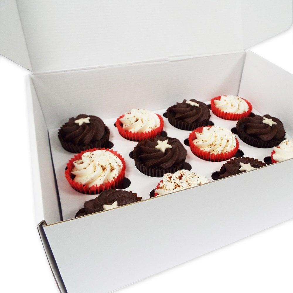 Boîte pour 24 cupcakes Solide – Blanc