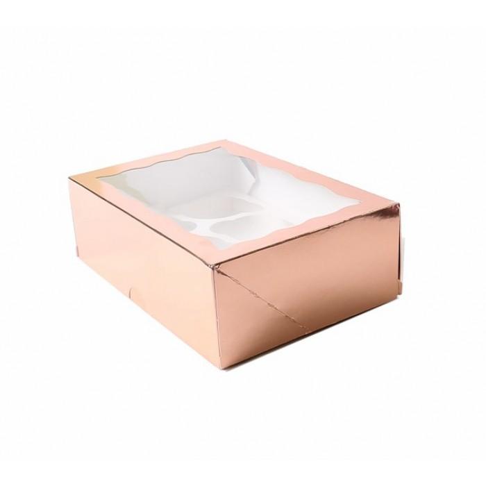 Boîte pour 6 cupcakes – Or rosé