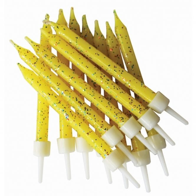 Bougies à paillettes - Jaune- Lot de 12