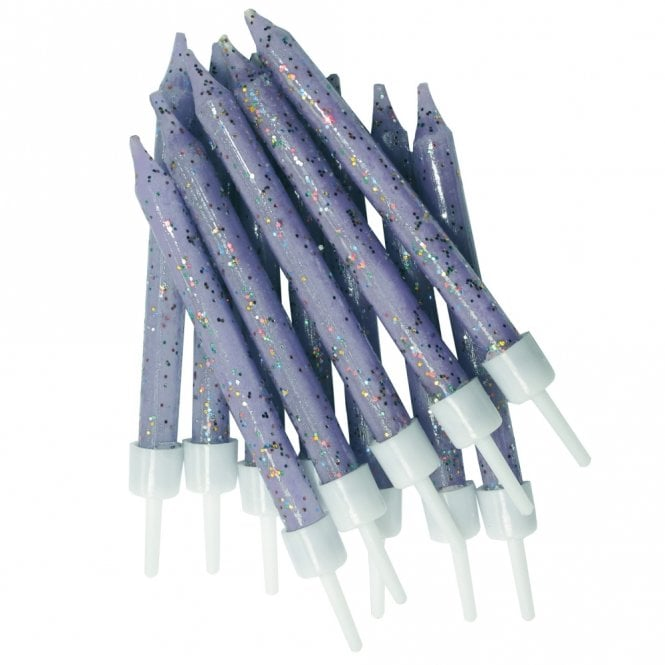Bougies à paillettes - Lilas- Lot de 12