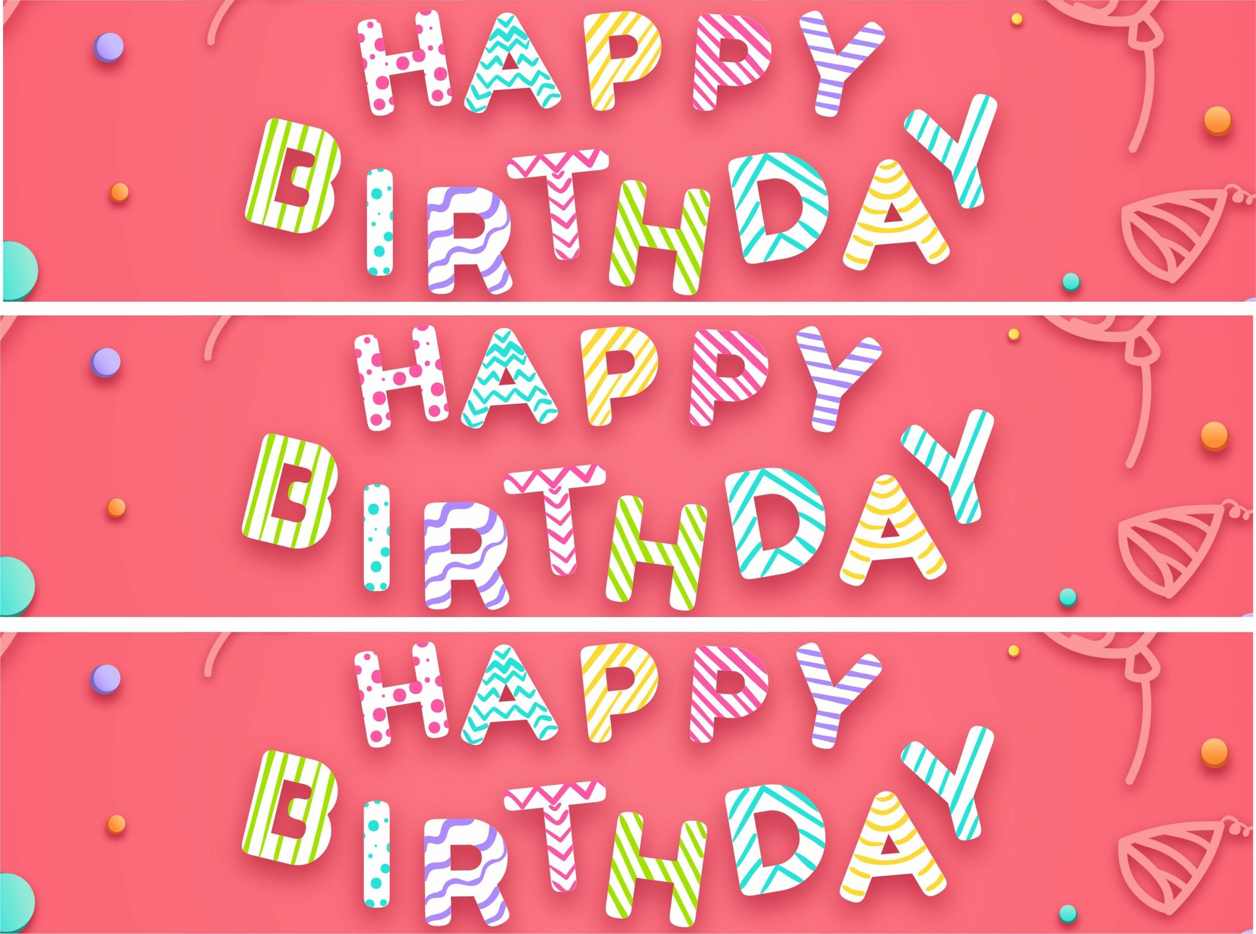 Contour de gâteau - Happy Birthday - Multicolore