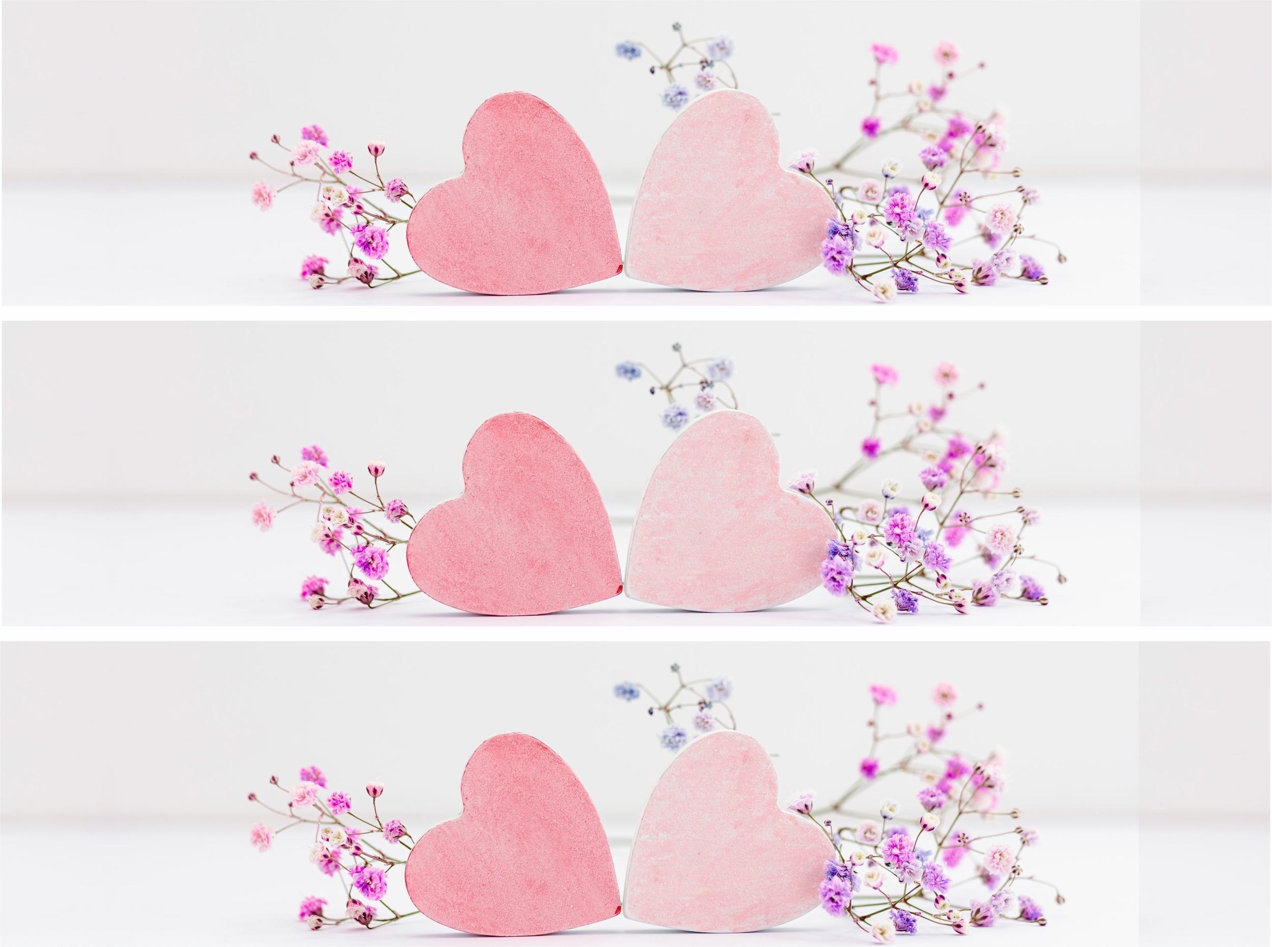 Contour de gâteau - Coeur fleuri