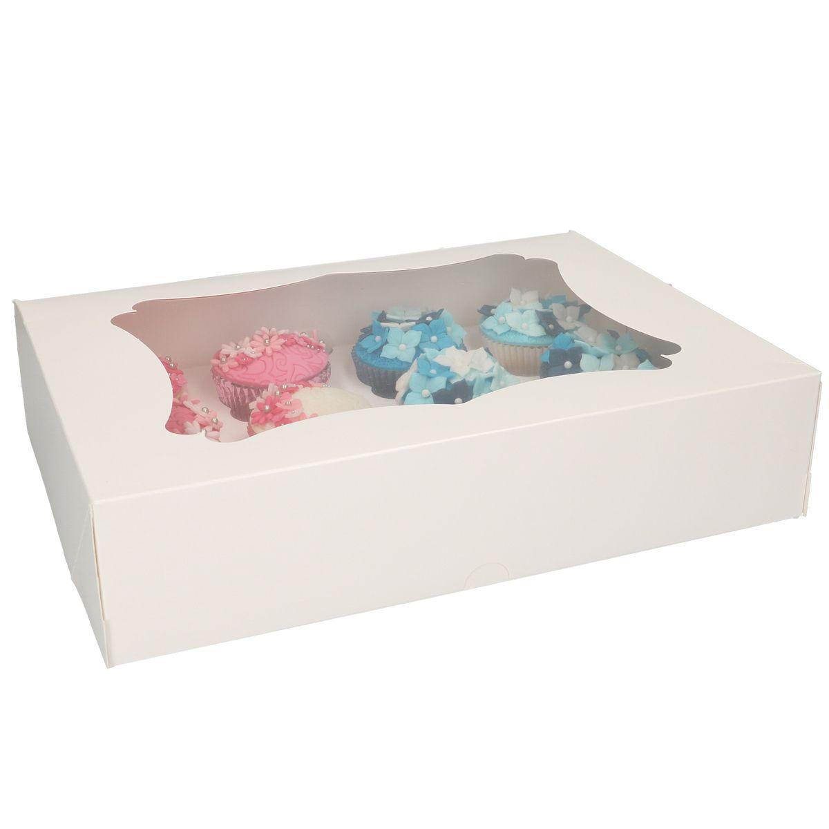 Boîte pour 12 cupcakes FunCakes – Blanc