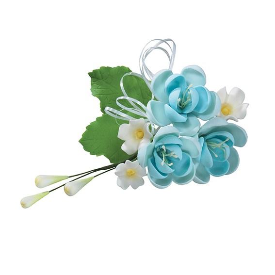 Fleur en sucre - Rose 11,4 cm - Bleu