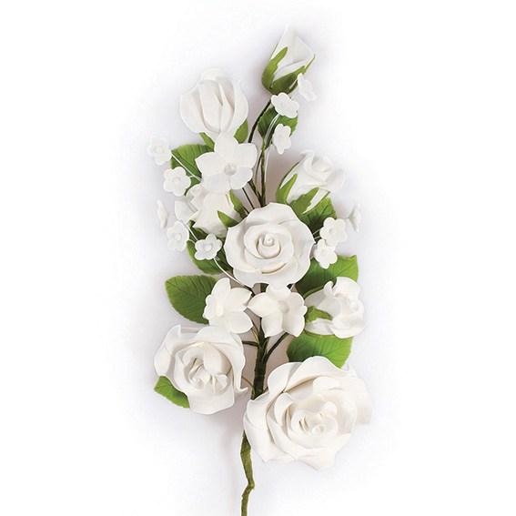 Fleur en sucre - Rose 17,8 cm- Blanc
