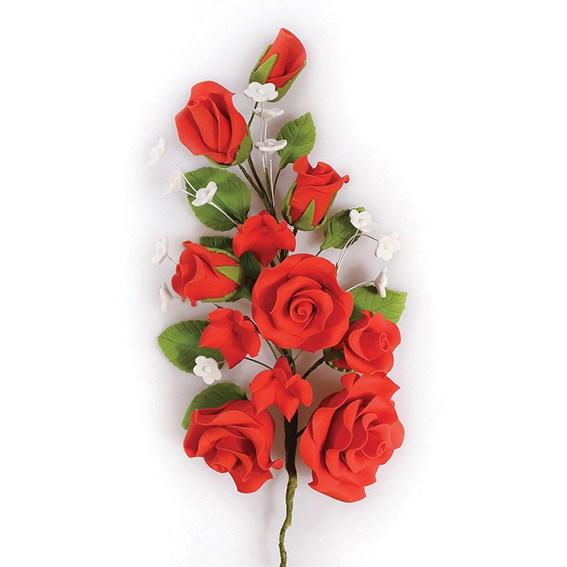 Fleur en sucre - Rose 17 cm - Rouge