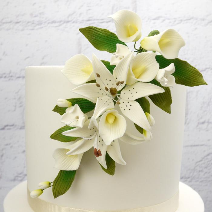 Fleur en sucre - Lis Rubrum et Calla 18 cm- Ivoire