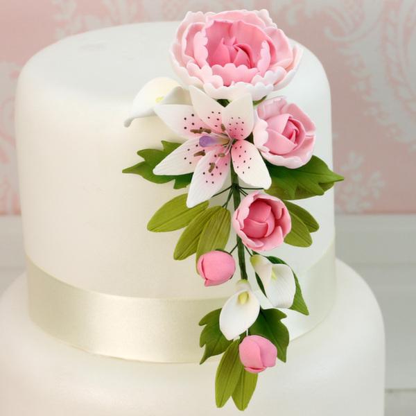 Fleur en sucre - Pivoine et Lis 18 cm- Rose