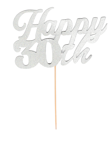 Topper - Happy 30th - Argent