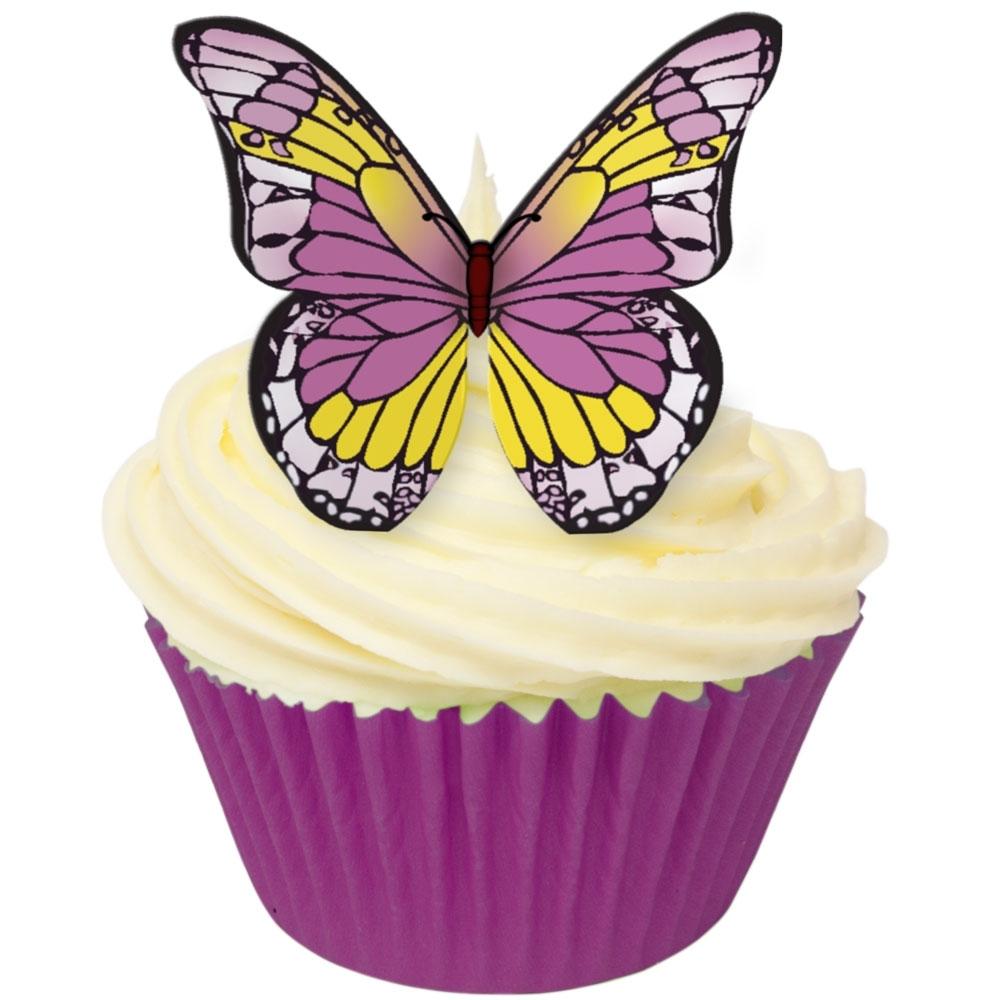 Toppers alimentaire - Papillons Violet/Jaune - Lot de 12